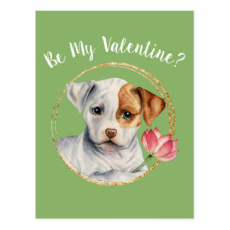 Puppy Holding Lotus Flower with Faux Gold Ring Postcard