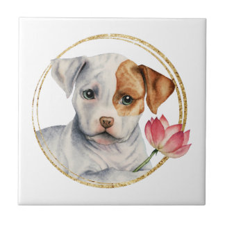 Puppy Holding Lotus Flower with Faux Gold Ring Tile