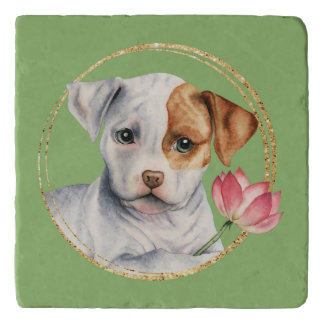 Puppy Holding Lotus Flower with Faux Gold Ring Trivet