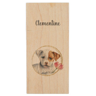 Puppy Holding Lotus Flower with Faux Gold Ring Wood USB Flash Drive
