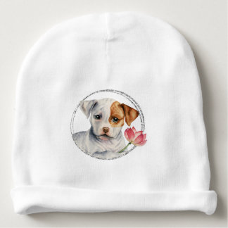 Puppy Holding Lotus Flower with Faux Silver Ring Baby Beanie