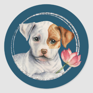 Puppy Holding Lotus Flower with Faux Silver Ring Classic Round Sticker