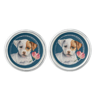 Puppy Holding Lotus Flower with Faux Silver Ring Cuff Links