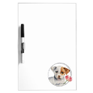 Puppy Holding Lotus Flower with Faux Silver Ring Dry Erase Board