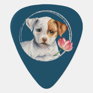 Puppy Holding Lotus Flower with Faux Silver Ring Guitar Pick