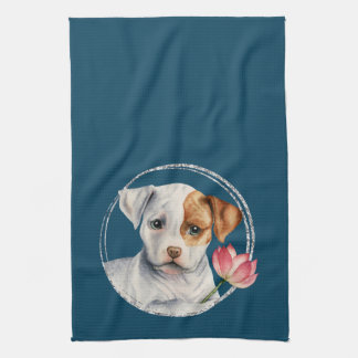 Puppy Holding Lotus Flower with Faux Silver Ring Kitchen Towel