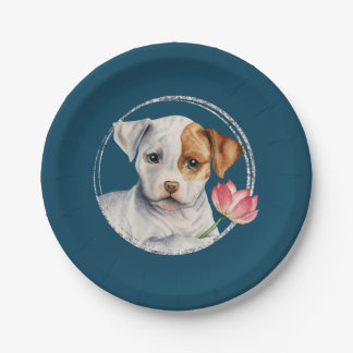 Puppy Holding Lotus Flower with Faux Silver Ring Paper Plate