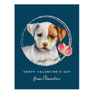 Puppy Holding Lotus Flower with Faux Silver Ring Postcard
