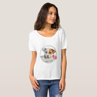 Puppy Holding Lotus Flower with Faux Silver Ring T-Shirt