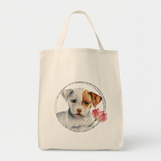 Puppy Holding Lotus Flower with Faux Silver Ring Tote Bag