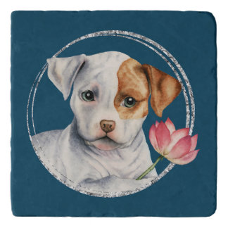 Puppy Holding Lotus Flower with Faux Silver Ring Trivet