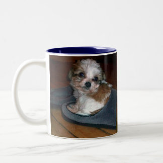Puppy in a slipper. Two-Tone coffee mug