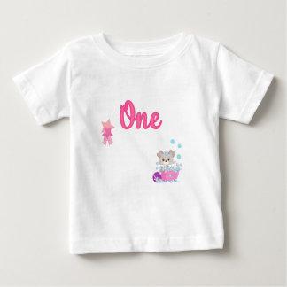 Puppy in Bath One Year Old Girl Birthday Baby T-Shirt