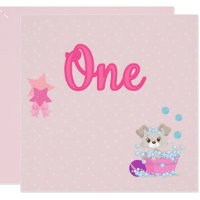 One year old birthday cards photocards invitations more puppy in bath one year old girl birthday bookmarktalkfo Gallery