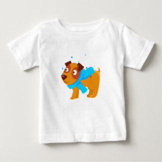 Puppy In Blue Scarf Walking Outside In Winter Baby T-Shirt