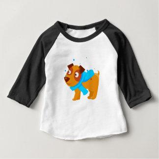 Puppy In Blue Scarf Walking Outside In Winter Baby T-Shirt