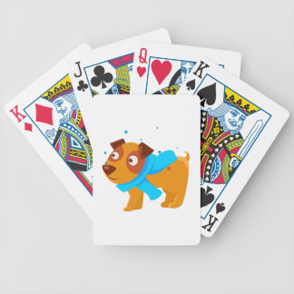 Puppy In Blue Scarf Walking Outside In Winter Bicycle Playing Cards