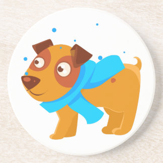 Puppy In Blue Scarf Walking Outside In Winter Coaster