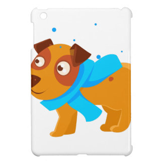 Puppy In Blue Scarf Walking Outside In Winter iPad Mini Case