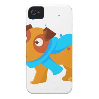 Puppy In Blue Scarf Walking Outside In Winter iPhone 4 Cover