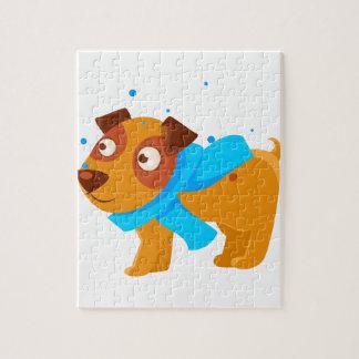 Puppy In Blue Scarf Walking Outside In Winter Jigsaw Puzzle
