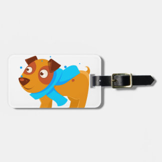 Puppy In Blue Scarf Walking Outside In Winter Luggage Tag