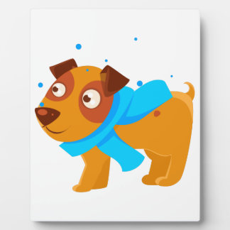 Puppy In Blue Scarf Walking Outside In Winter Plaque