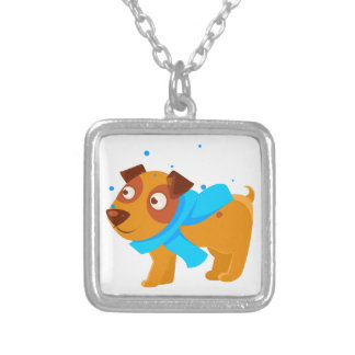 Puppy In Blue Scarf Walking Outside In Winter Silver Plated Necklace