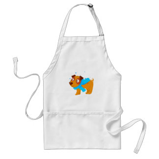Puppy In Blue Scarf Walking Outside In Winter Standard Apron