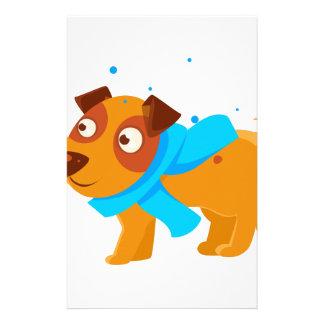 Puppy In Blue Scarf Walking Outside In Winter Stationery