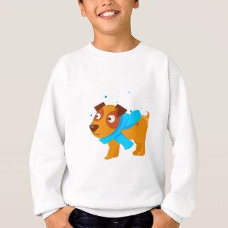 Puppy In Blue Scarf Walking Outside In Winter Sweatshirt