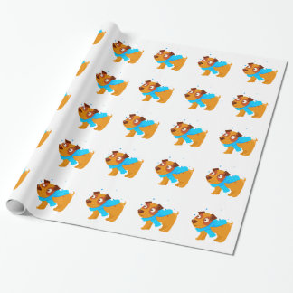 Puppy In Blue Scarf Walking Outside In Winter Wrapping Paper