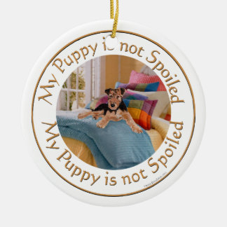 Puppy is Not Spoiled Round Ceramic Ornament