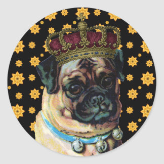 Puppy King Classic Round Sticker