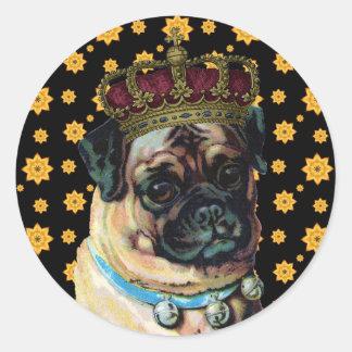Puppy King Round Sticker