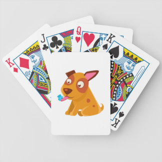 Puppy Looking At A Butterfly On Its Tongue Bicycle Playing Cards