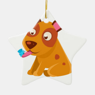 Puppy Looking At A Butterfly On Its Tongue Ceramic Ornament