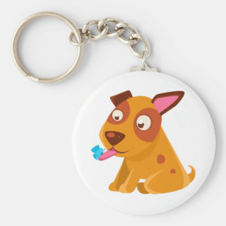 Puppy Looking At A Butterfly On Its Tongue Keychain