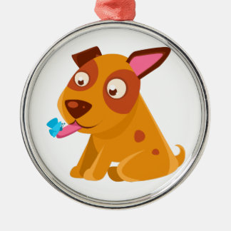 Puppy Looking At A Butterfly On Its Tongue Metal Ornament