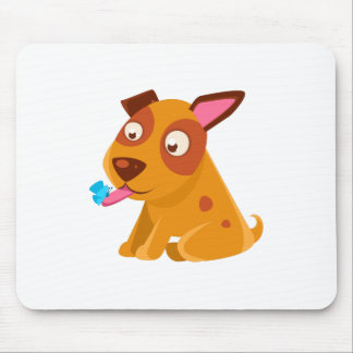 Puppy Looking At A Butterfly On Its Tongue Mouse Pad