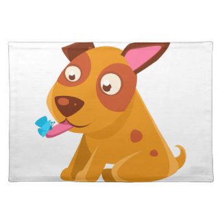 Puppy Looking At A Butterfly On Its Tongue Placemat