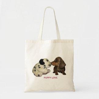 Puppy love bag dachshund kissing toy dog