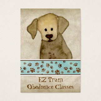 """Puppy Love,"" Brown Puppy Paws Art Doggy Day Care Business Card"