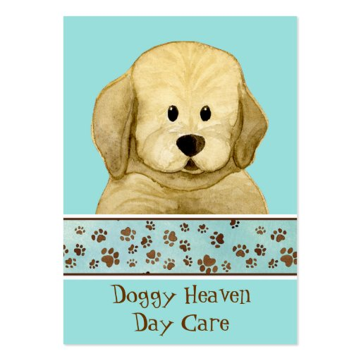 """Puppy Love,"" Brown Puppy Paws Art Doggy Day Care Business Card Template"