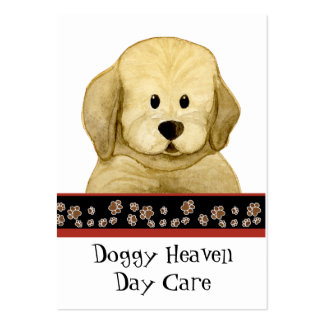 """""""Puppy Love,"""" Brown Puppy Paws Art Doggy Day Care Large Business Card"""