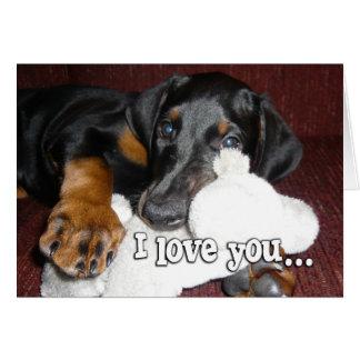 Puppy Love - Cute Doberman Pinscher Puppy Card