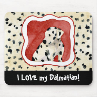 """""""Puppy Love,"""" Dalmatian Puppy Art by Audrey Jeanne Mouse Pad"""