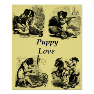Puppy Love Dogs Acting Human Art Illustration Poster