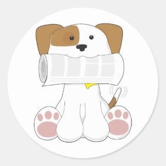 Puppy Love Newspaper Classic Round Sticker