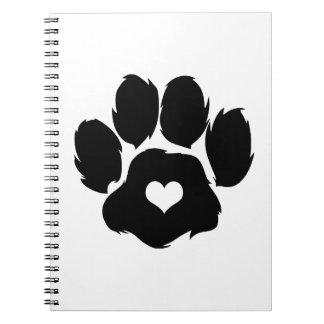 Puppy Love Paw Print Heart Spiral Notebook